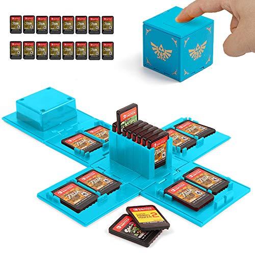 Etui Kompatibel Für Nintendo Switch - Passend für bis zu 16Nintendo Switch Spiele Aufbewahrungssystem Spielkarten Organizer Reisebox Hartschalen Set mit16 Slots Inserts (Zelda Blau)